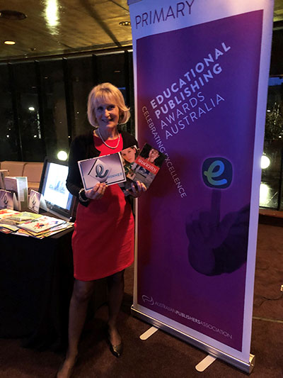 Lyn White at the Educational Publishing Australia Awards ceremony