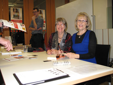 Through My Eyes launch Lyn White and Rosanne Hawke signing books