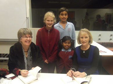 Through My Eyes launch - Rosanne Hawke and Lyn White with winners of Mount Waverley's annual writing competition